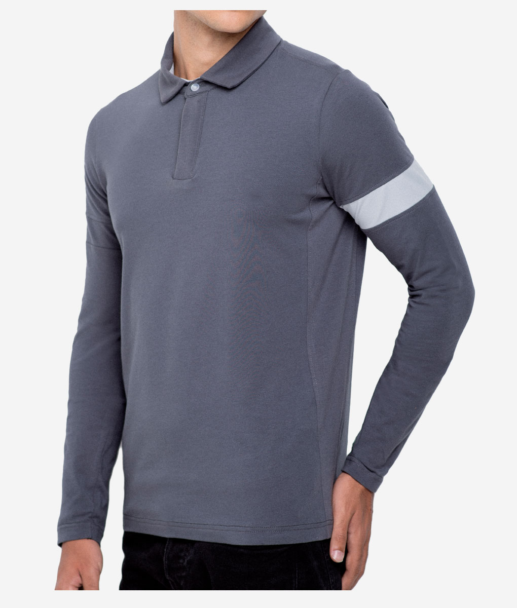 casual-cycling-clothing-polo-zip-grey-3-4